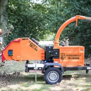 Timberwolf-TW-230DHB-Road-Tow-Wood-Chipper-feeding-brash